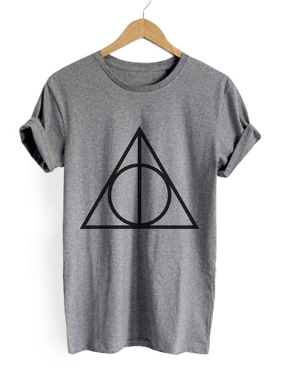 Heather Grey Geometric Print Tee