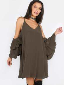 Cold Shoulder Ruffle Shift Dress OLIVE