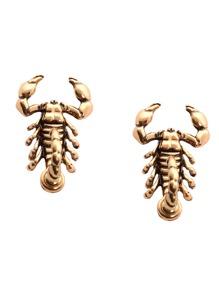 Antique Gold Scorpion Stud Earrings