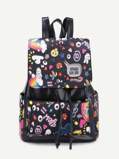 Faux Leather Cartoon Print Drawstring Flap Backpack