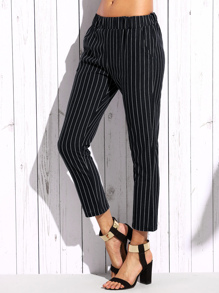 Black Vertical Striped Elastic Waist Pants