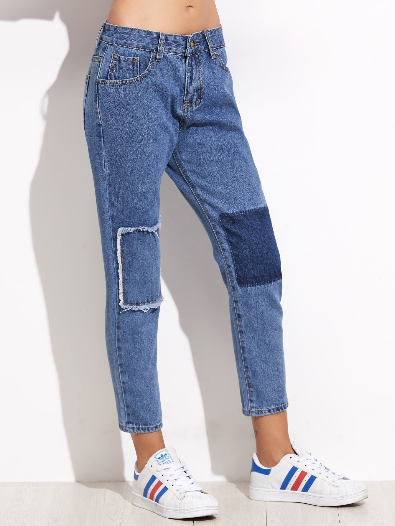 Blue Patchwork Ankle Jeans ferzige woman jeans boot cut embroidered high stretch womens flared pants ladies flowers embroidery blue jeans mujer femme jeans