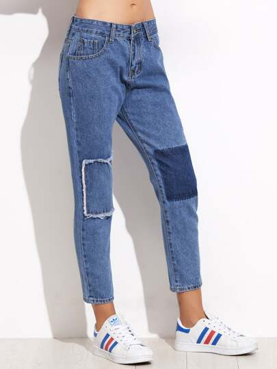 Blue Patchwork Ankle Jeans