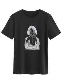 T-Shirt mit Katze Druck - schwarz