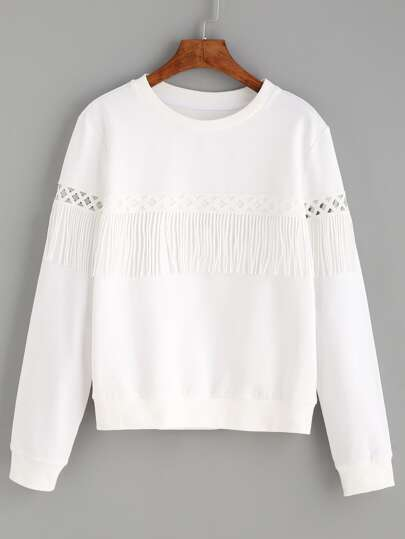 White Tassel Long Sleeve Sweatshirt