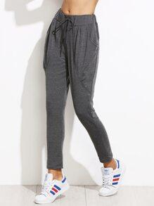 Grey Drawstring Peg Pants With Pockets