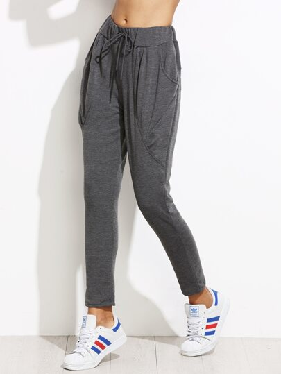 Grey Drawstring Peg Pants With Pockets
