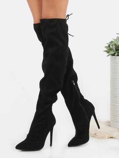 Pointed Toe Over The Knee Boots BLACK