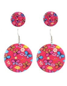 Red Flower Stud Drop Earrings Set