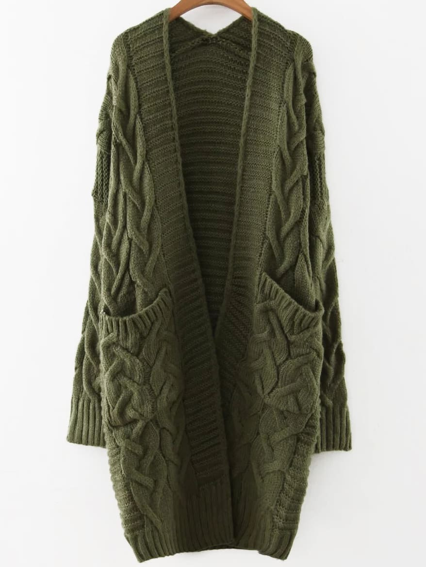 Army Green Cable Knit Front Pocket Long Sweater Coat -SheIn(Sheinside)