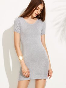 Grey Textured Knit Sheath Dress