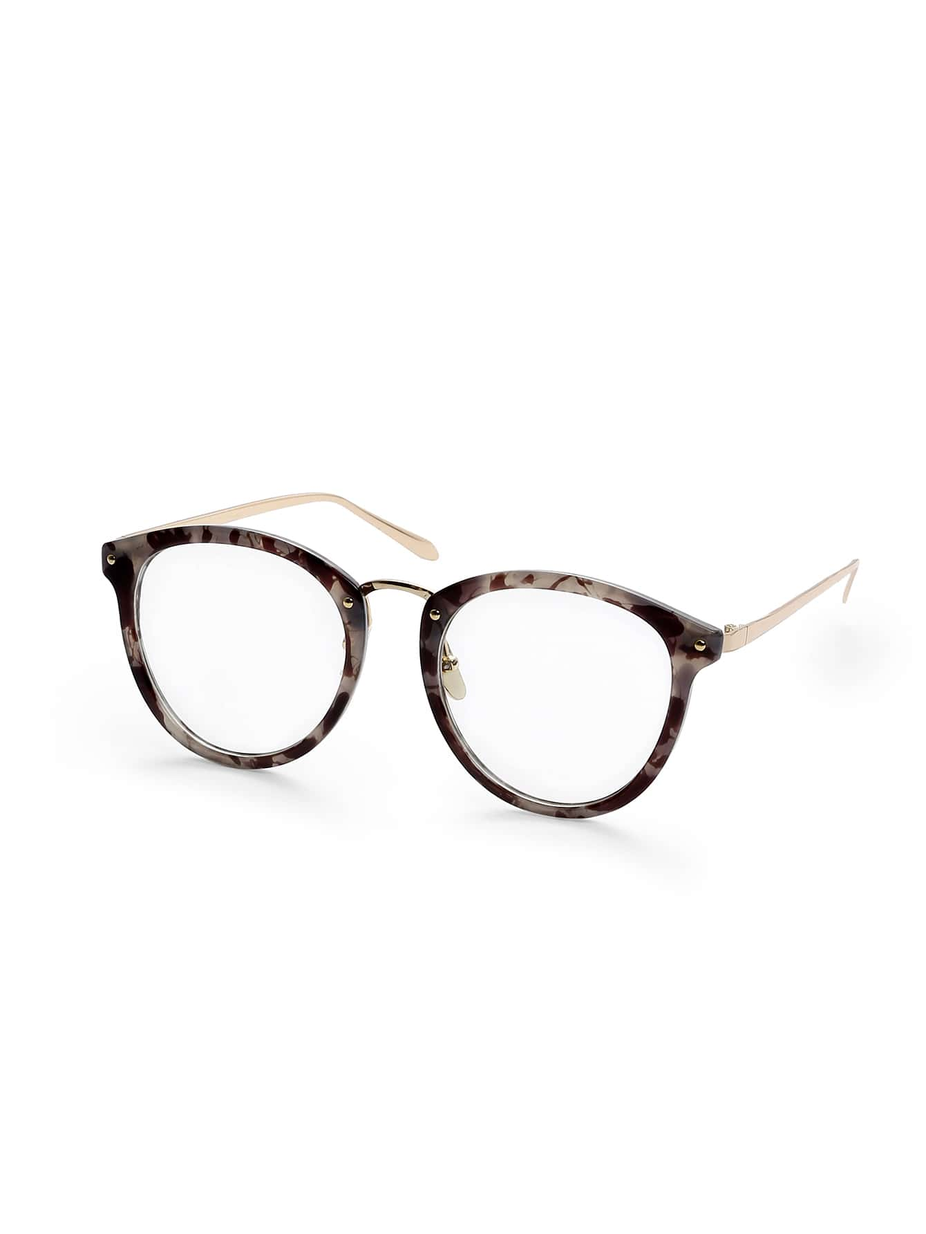 Grey Tortoise Frame Round Lens Glasses sunglass160802328