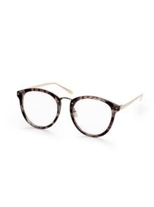 Grey Tortoise Frame Round Lens Glasses
