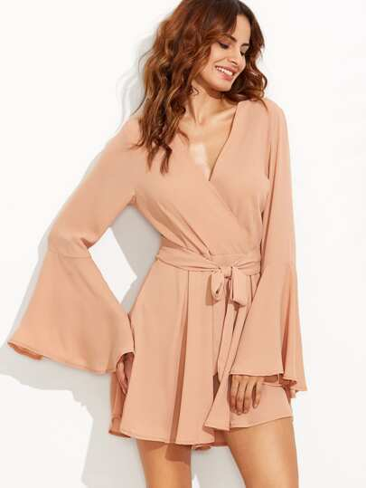 Khaki V Neck Self Tie Bell Sleeve Romper
