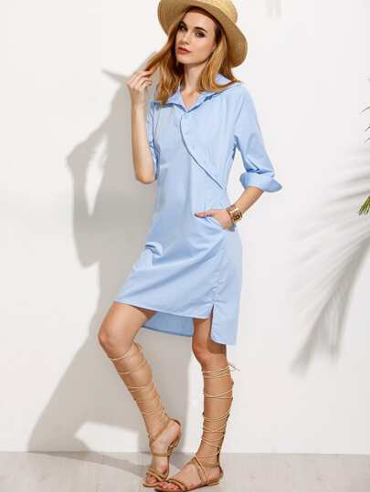 Blue Buttons Cut Out Knotted Back Dip Hem Shirt Dress