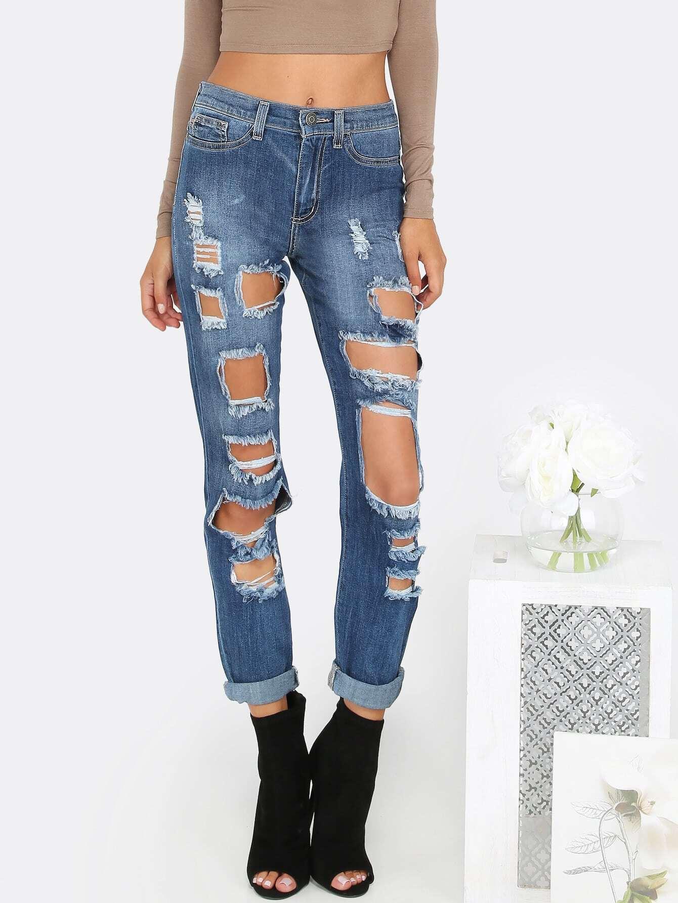 Destroyed Mid Rise Boyfriend Jeans DENIMDestroyed Mid Rise Boyfriend Jeans DENIM<br><br>color: Blue<br>size: M,S