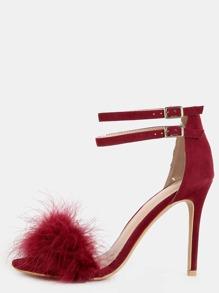 Single Sole Feather High Heels BURGUNDY