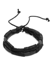 Black Faux Leather Wrap Bracelet