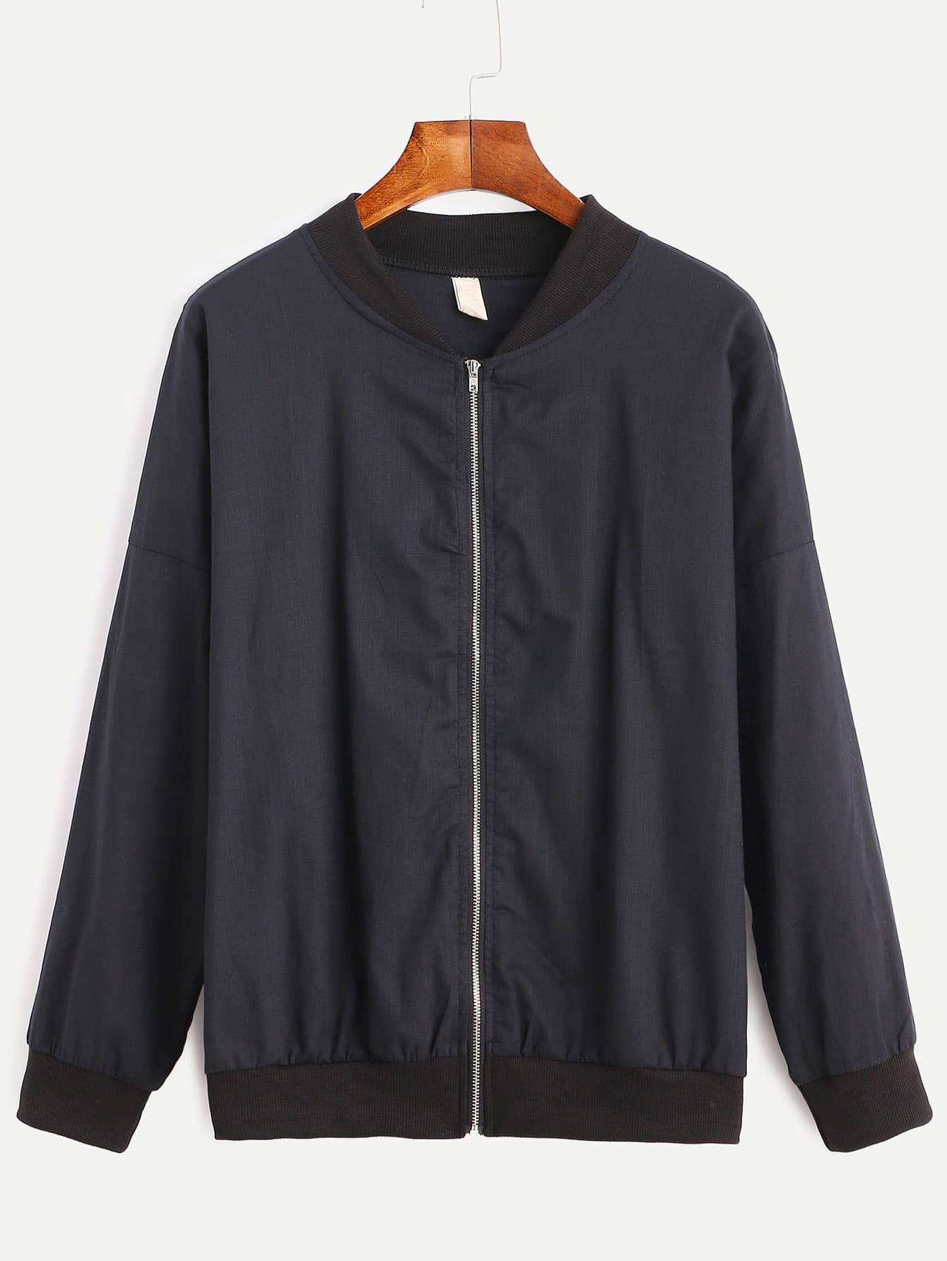 Drop Shoulder Zipped Bomber Jacket two tone drop shoulder sweatshirt