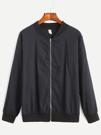 Drop Shoulder Zipped Bomber Jacket