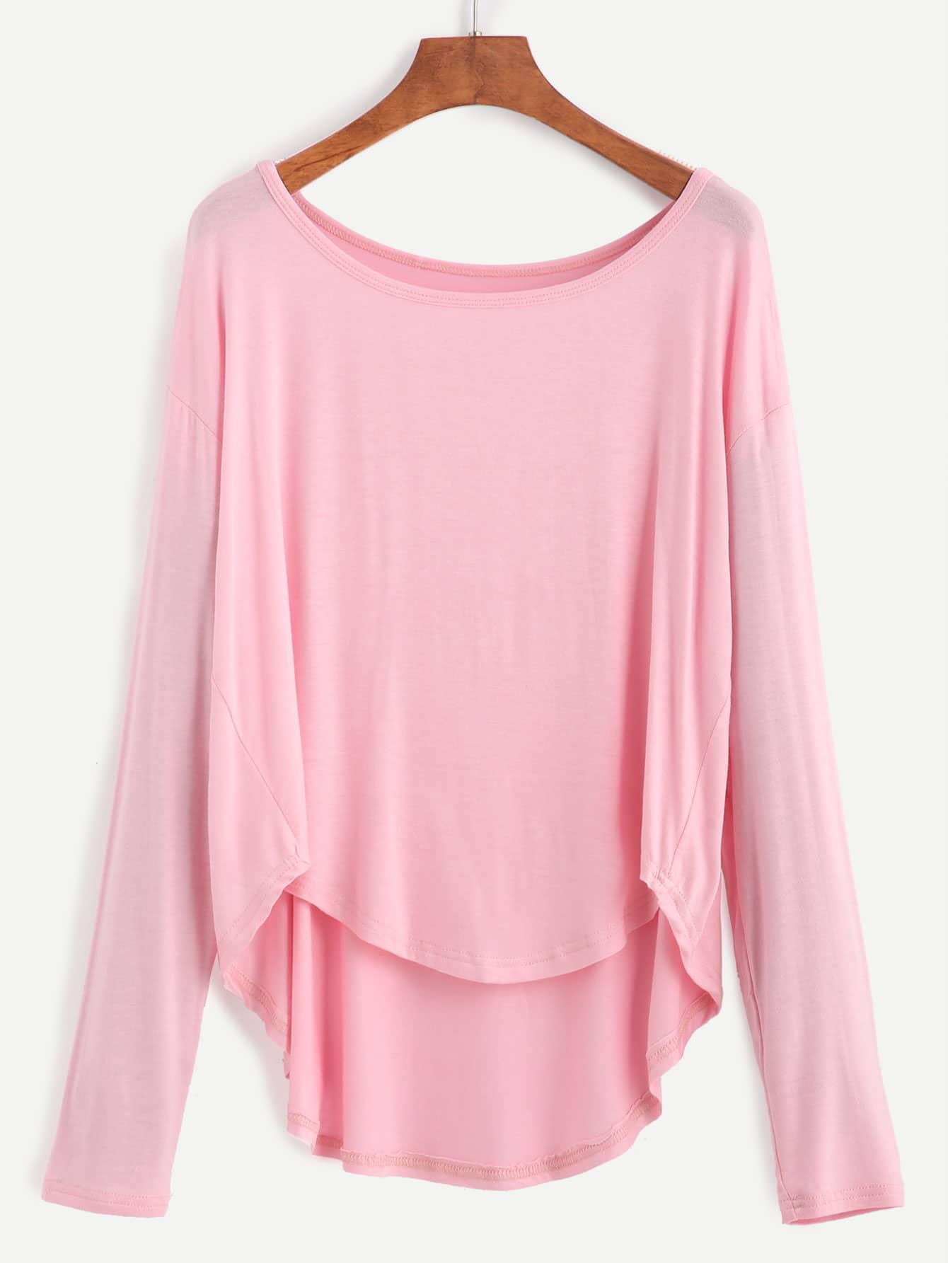 Pink Drop Shoulder Dip Hem T-shirt tee160817123