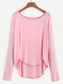 Pink Drop Shoulder Dip Hem T-shirt