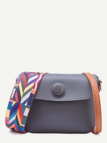 Grey Geometric Strap Leather Button Closure Crossbody Bag