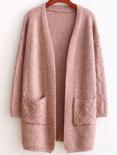 Brown Diamond Pattern Ribbed Longline Sweater Coat