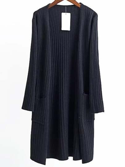 Black Collarless Ribbed Long Pocket Cardigan