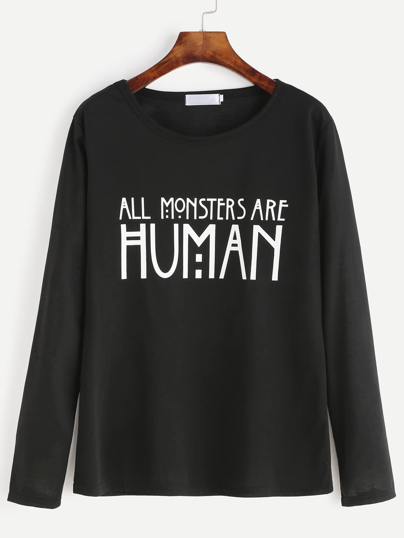 Black Slogan Print T-shirt tee160819101