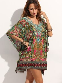 Multicolor V Neck Print Shift Dress