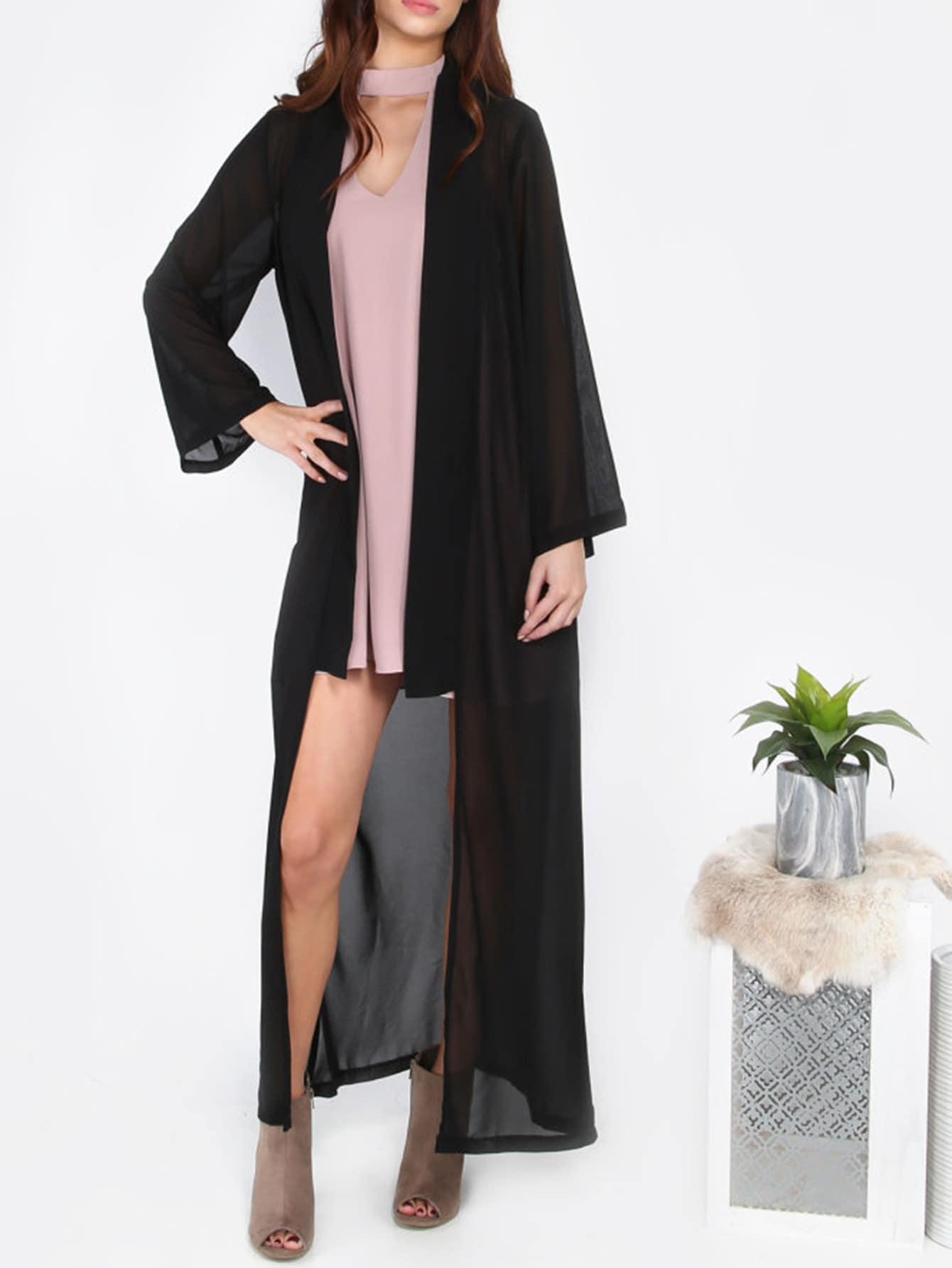 Фото Black Long Chiffon Outerwear. Купить с доставкой