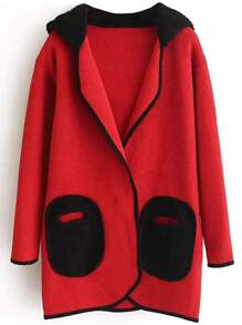 Red Hidden Button Hooded Sweater Coat With Cute Pockets