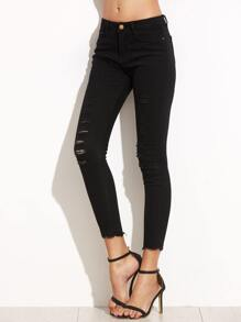 Black Ripped Raw Edge Skinny Jeans