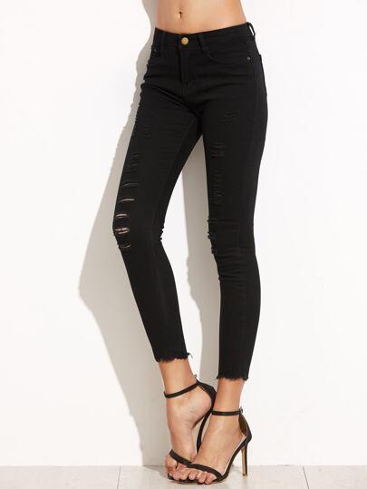 Black Ripped Raw Edge Skinny Jeans