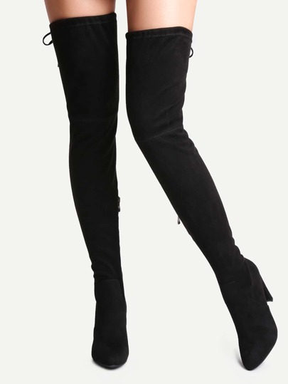 Black Suede Point Toe Over The Knee Boots