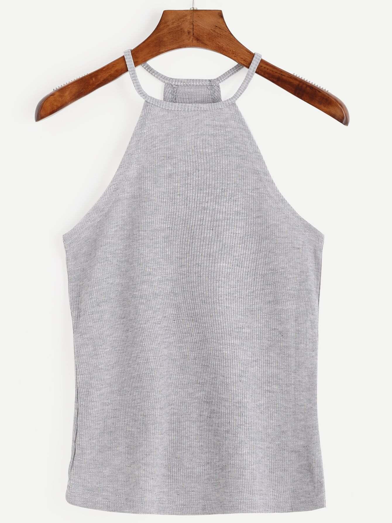Grey Halter Ribbed Cami Top vest160801003
