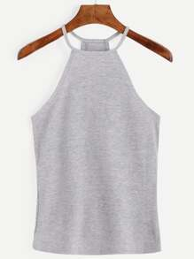 Grey Halter Ribbed Cami Top