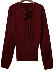 Burgundy Ribbed Cuff Wide Hem Lace Up Sweater
