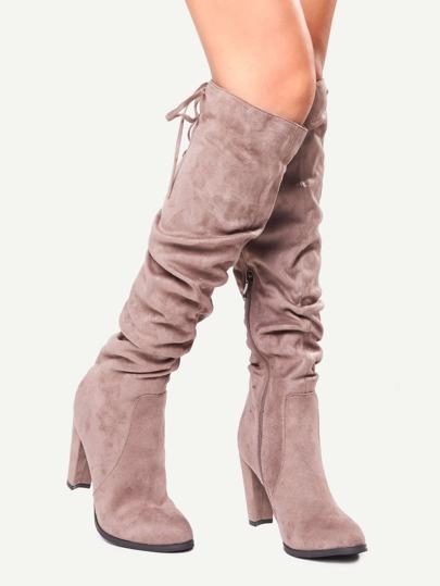 Brown Suede Tie Back Knee Zipper Boots