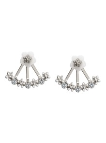 Silver Plated Fan Shaped Rhinestone Flower Stud Earrings
