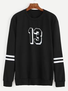 Black Number Print Varsity Striped Sweatshirt