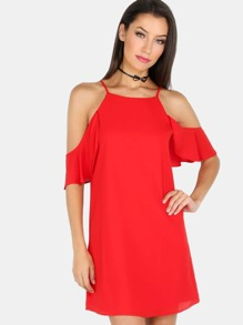 High Neck Cold Shoulder Dress RED