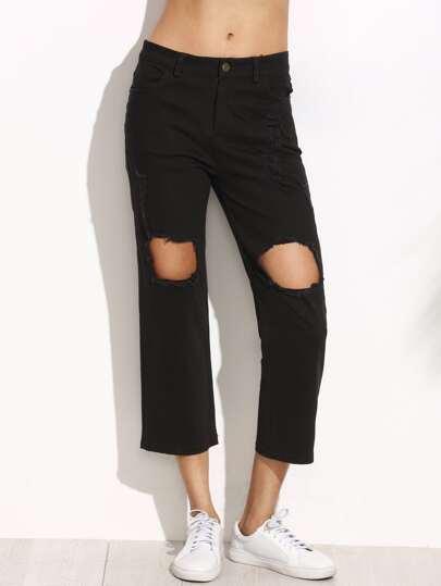 Black Knee Ripped Pockets Pants