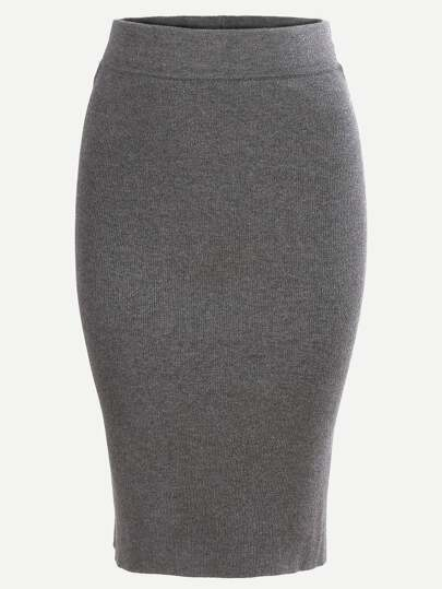 Split Dual Pockets Back Knit Pencil Skirt