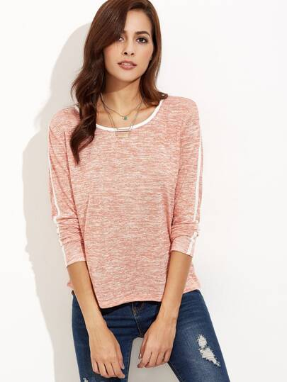 Marled Knit Contrast Binding T-shirt