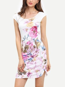 Beige Cap Sleeve Floral Print Sheath Dress