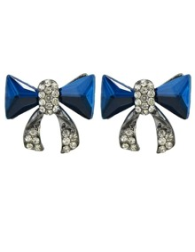 Blue Bow Tie Shape Stud Earrings