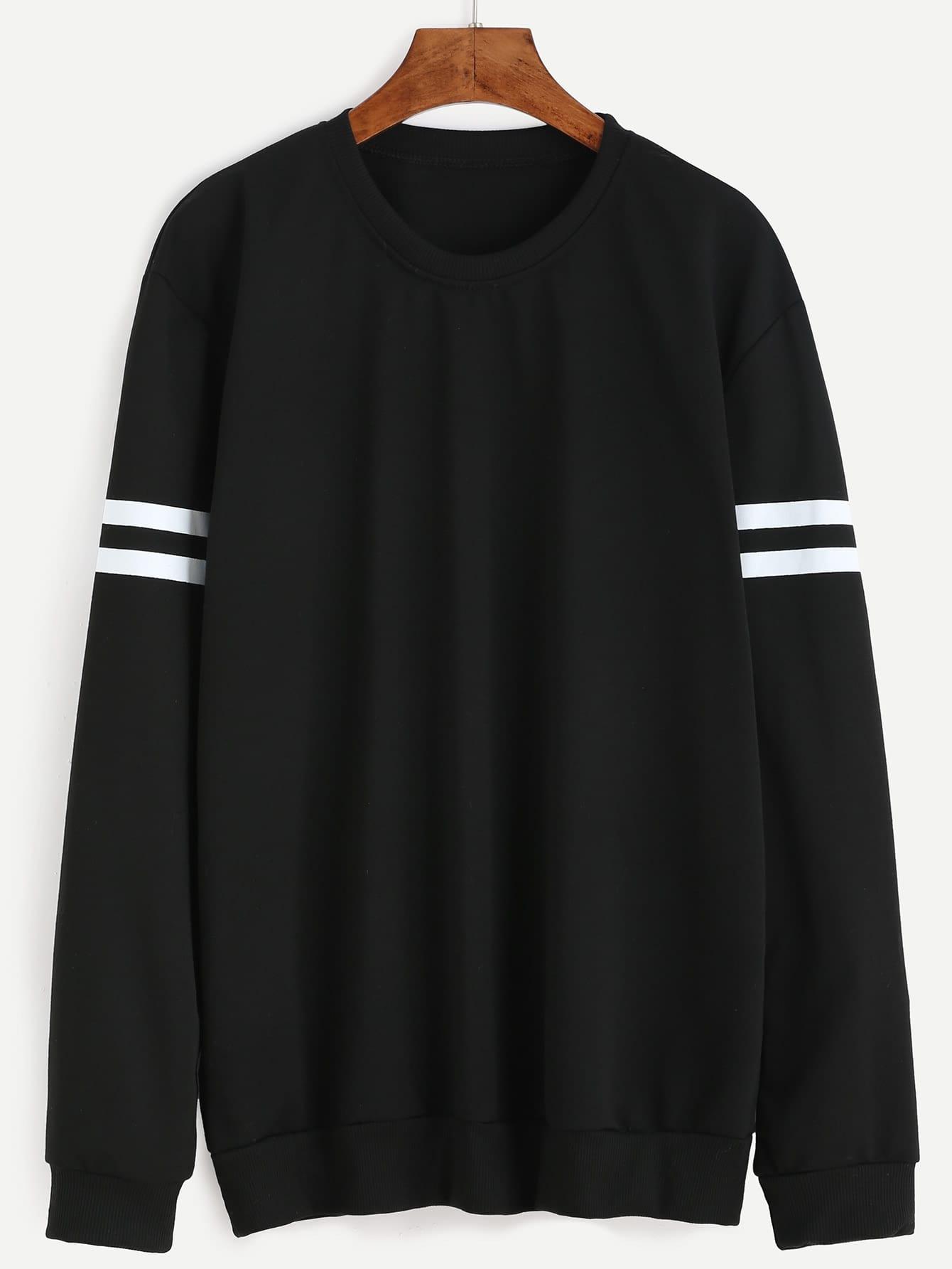 Black Varsity Striped Sweatshirt sweatshirt160804128