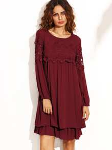 Red Crochet Trim Hollow Out Layered Dress